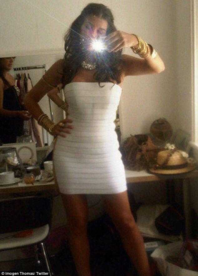 White hot! The model also tweeted a picture of herself in a tiny and tight white body con dress
