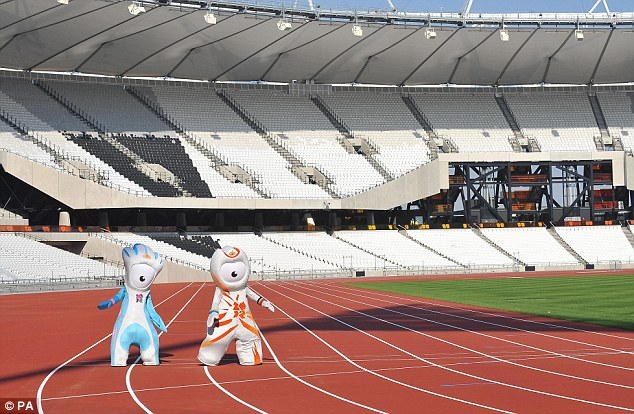 On your marks: Olympic mascots Wenlock and Mandeville take to the track