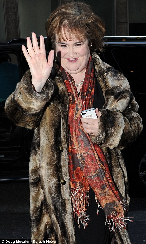 Looking like a superstar: Susan Boyle visits the Sirius XM Radio studios in New York yesterday