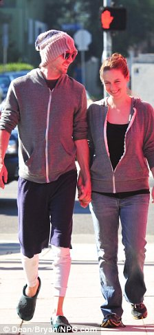 Cute couple: The pair were seen sharing a joke together as they walked around hand in hand