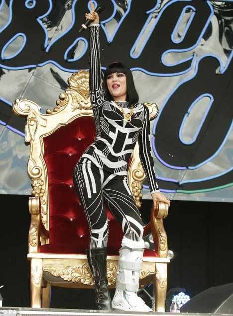 Making it work: At Glastonbury Jessie, who is performing at The Big Chill this weekend, took to the stage with a chair to perform