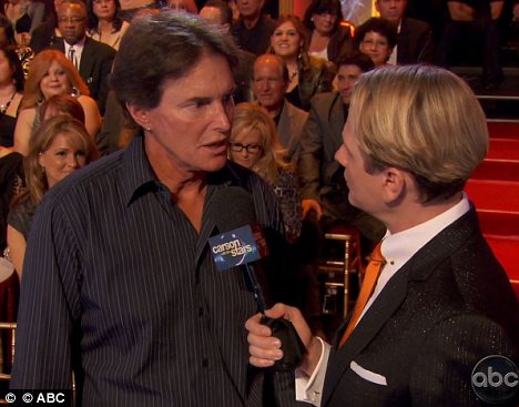 Supporting Rob: While most of the Kardashian clan out of town Bruce Jenner was supporting Rob on Dancing With The Stars last night