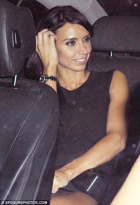 Rare night out: Christine Bleakley leaves a London nightclub in the small hours of this morning after celebrating fiancé Frank Lampard's hattrick yesterday