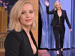 "NEW YORK, NY - NOVEMBER 18:  Jennifer Lawrence Visits ""The Tonight Show Starring Jimmy Fallon"" at Rockefeller Center on November 18, 2015 in New York City.  (Photo by Theo Wargo/NBC/Getty Images for ""The Tonight Show Starring Jimmy Fallon"")"