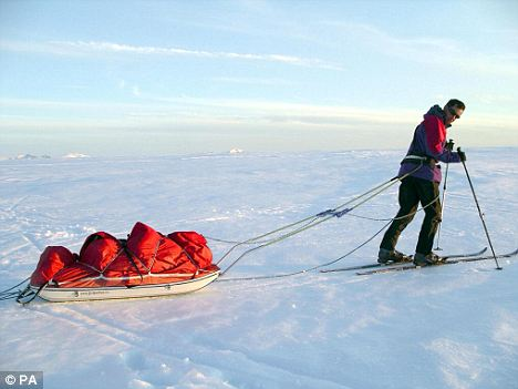 John Wilton-Davies, 44, training for his effort to become the oldest man in history to reach the South Pole alone and unsupported