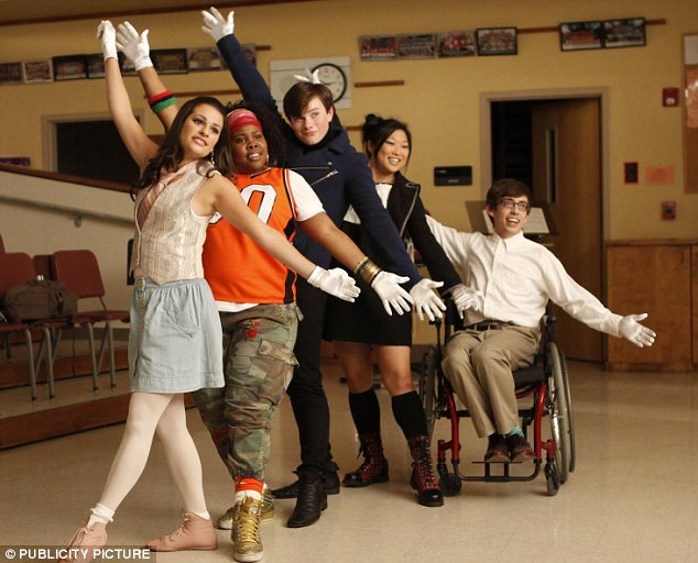 Lea as Rachel Berry with her castmates in season one of Glee. She admitted that her ambitious on-screen character was not too far removed from her real-life persona