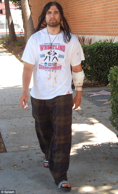 Released: Weston Cage in Hollywood today after he and wife Nikki were charged with domestic violence