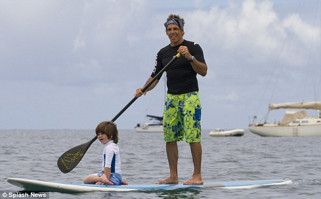 On vacation: Earlier in the day Ben Stiller was spotted paddle boarding with his son