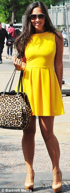 Style icon: Myleene Klass appeared to have taken inspiration from Amy Childs as she stepped out in the same yellow dress the TOWIE star wore the day before
