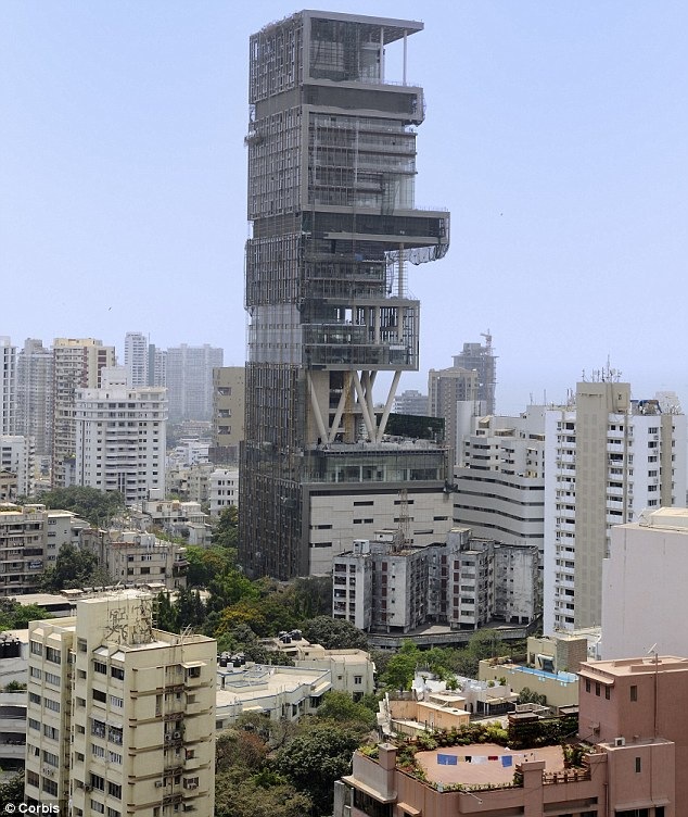 Absolute luxury: Antilia, built by tycoon Mukesh Ambani for his family of four, towers 27-storeys over Mumbai