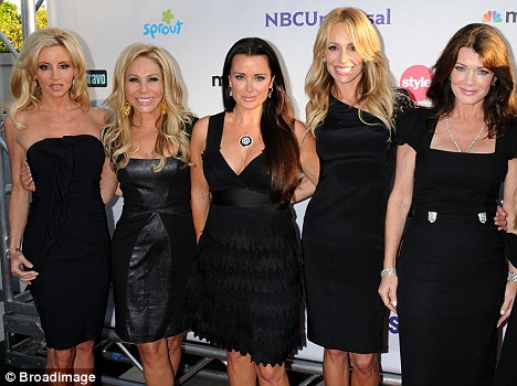 Not on your wife: Real Housewives of Beverly Hills stars Kyle Richards (centre) and Lisa Vanderpump (right) have ridiculed Kelsey Grammer's political aspirations