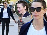 Please contact X17 before any use of these exclusive photos - x17@x17agency.com   Jennifer Garner sports braided hair during a morning coffee run to Le Pain Quotidien with son Samuel. November 20, 2015 X17online.com EXCLUSIVE