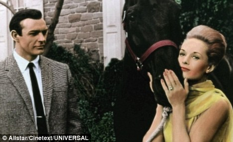 Sean Connery, left, and Tippi Hedren, right in a scene from Hitchock's film, Marnie