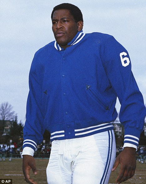 Sports star: Smith during his American football days playing for the Baltimore Colts in 1967