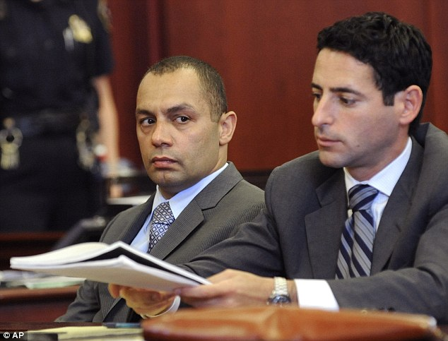 Convicted: Kenneth Moreno, left, pictured with defence lawyer Chad Seigel, and his colleague Franklin Mata had been summoned to help the drunken woman get out of a taxi in December 2008