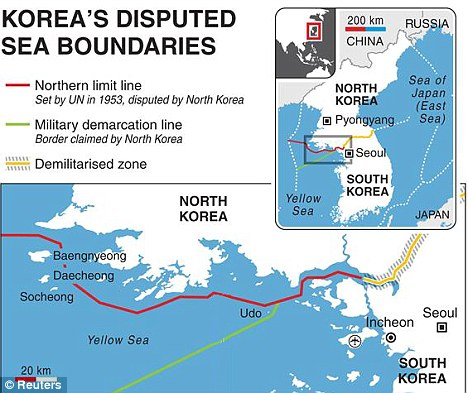 Stand-off: Map showing the location of the disputed maritime waters between the Koreas