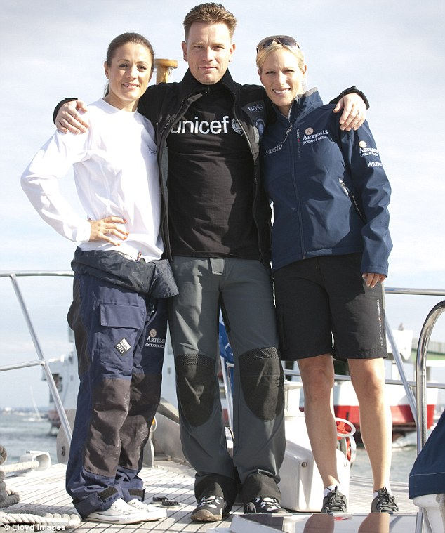 All aboard: Natalie Pinkham, Ewan McGregor  and Zara Phillips are competing in the 80km Artemis Challenge around the Isle of Wight during this year's Cowes Week regatta