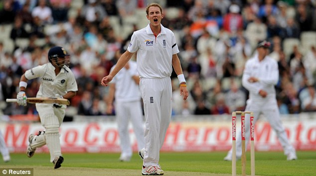 Broad ambition: The England seamer cries out in anguish as the Indian batsmen scurry a run