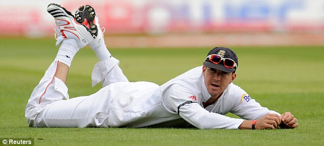 Close call: Kevin Pietersen saw a catch fall just short of him at fourth slip