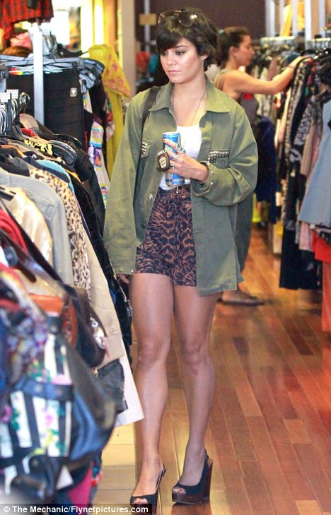 What were you thinking? Vanessa Hudgens stepped out in a rather strange outfit yesterday as she went shopping
