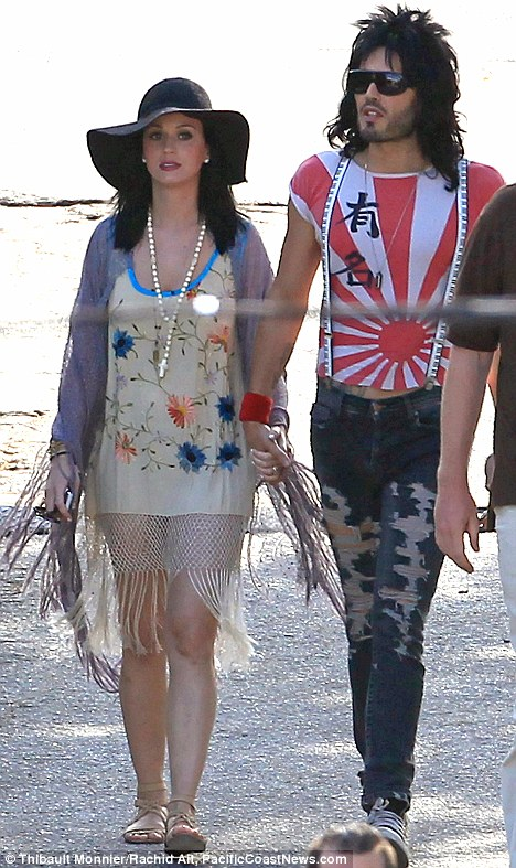 Co-star: Russell Brand and wife Katy Perry were seen on the Rock Of Ages set in June - with Russ dressed in character