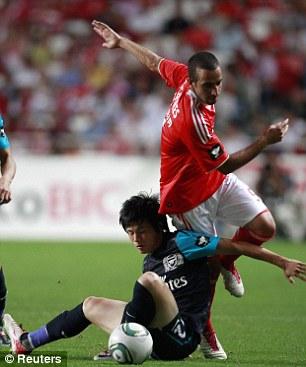 Floored: Miyaichi in action during pre-season
