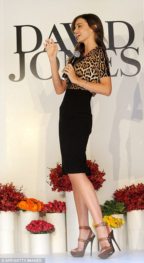 Slender: Showing off her profile, it was clear to see Miranda has lost every ounce of baby fat since giving birth