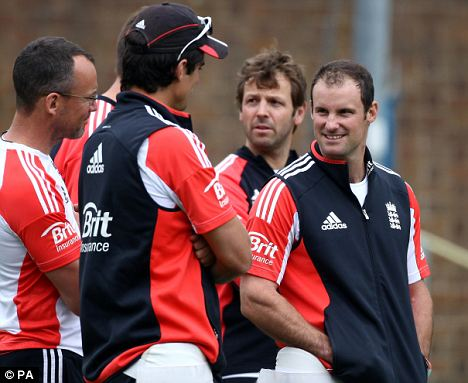 Ready: England captain Andrew Strauss (right)
