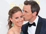 LOS ANGELES, CA - AUGUST 25:  TV host Seth Meyers and wife Alexi Ashe attend the 66th Annual Primetime Emmy Awards at the Nokia Theatre L.A. Live on August 25, 2014 in Los Angeles, California.  (Photo by David Livingston/Getty Images)