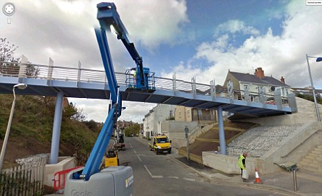 Callous: The footbridge when it was first being installed but it is now out of action