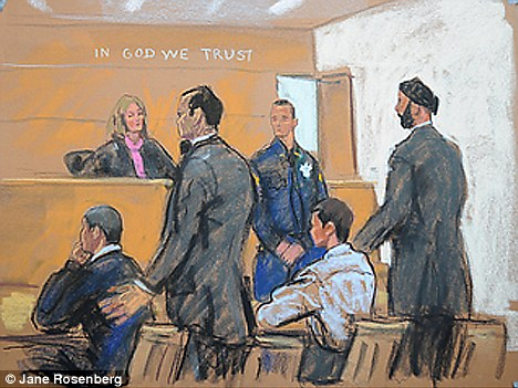 Charged: A court drawing shows Jeovanni Rosario (seated) as the silent footage replayed the incident in family court last month