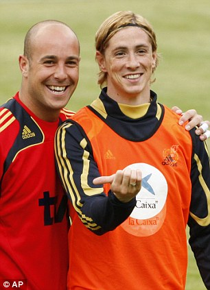All smiles: Reina and Torres were on international duty together earlier this week