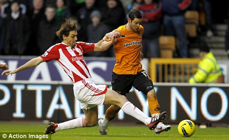Flying winger: Matt Jarvis (right) gave Jonathan Woodgate a torrid time