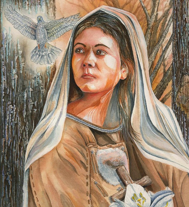 'Gentle and kind': Caterina, also known as Kateri Tekakwitha, has a national shrine located in Fonda, New York, where she lived as a teenager