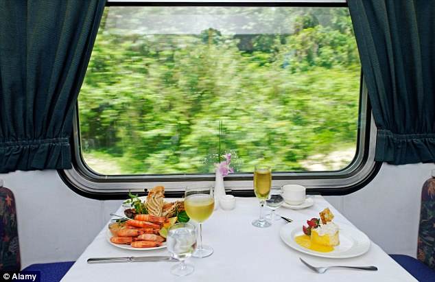 A laid table in the restaurant car of The Sunlander train