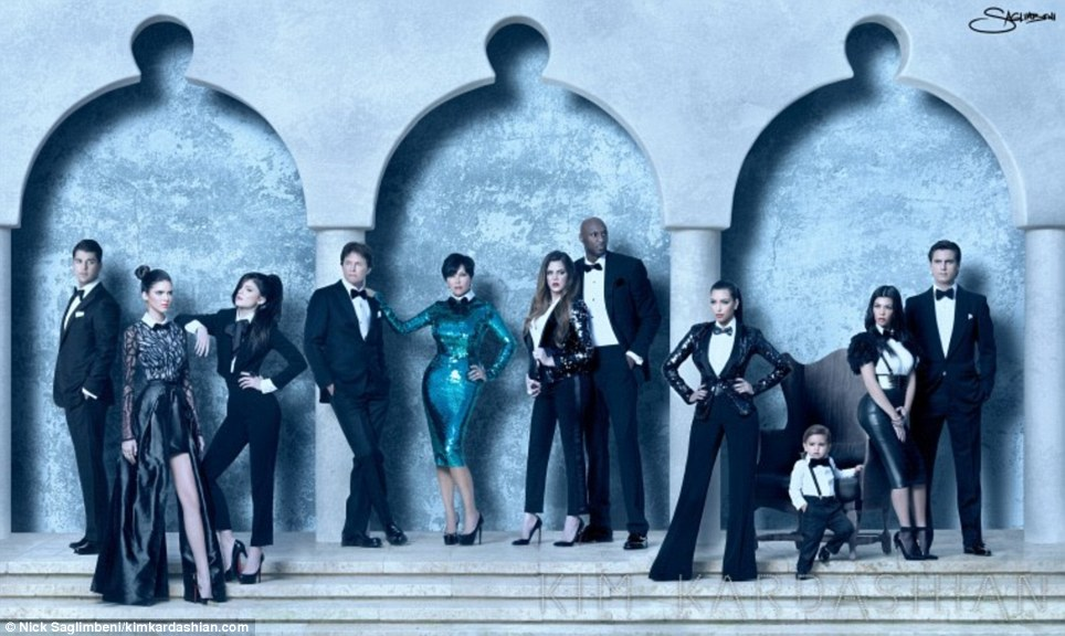 A very Kardashian Christmas: Kim posted this family portrait on her website today