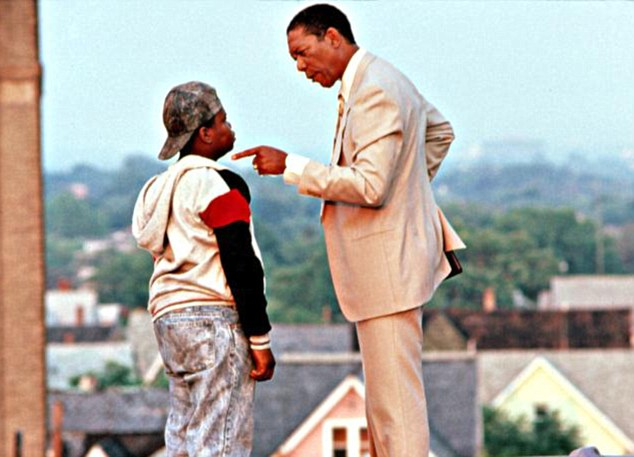 Classic: Jermaine 'Huggy' Hopkins and Morgan Freeman in a scene from  Lean on Me