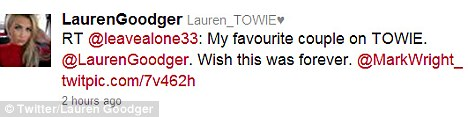 Sparking speculation: On Sunday night Lauren retweeted a fan who posted a picture of the couple in happier days