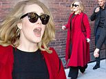 Picture Shows: Adele  November 20, 2015\n \n British singer Adele is seen heading to a sound check before her concert scheduled tonight in New York City, New York.\n \n The popular star, who has just released her highly anticipated third album '25', appeared to be in high spirits; dressed in a bright red coat and giving a friendly wave to onlookers as she made her through the street alongside her security team.\n \n Non Exclusive\n UK RIGHTS ONLY\n \n Pictures by : FameFlynet UK � 2015\n Tel : +44 (0)20 3551 5049\n Email : info@fameflynet.uk.com
