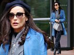 \nExclusive Demi Moore looks great as she works on her latest movie Blind in New York City. The actress wore a light blue coat with dark blue checkered pants and sporting a large diamond on her left hand. The is starring opposite Alec Baldwin in the film, which follows a novelist who is blinded in a car crash. \nPlease byline:TheImageDirect.com\n*EXCLUSIVE PLEASE EMAIL sales@theimagedirect.com FOR FEES BEFORE USE