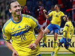 Zlatan Ibrahimovic of Sweden celebrates scoring his goal from the penalty spot to make it  2-0 during the UEFA EURO Qualifiers First playoff round match between Sweden and Denmark played at the Friends Arena, Stockholm on November 14th 2015
