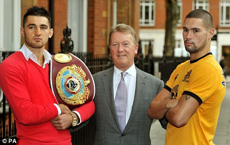 Focused: Nathan Cleverly (left) and Tony Bellew (right) with promoter Frank Warren after announcing their fight