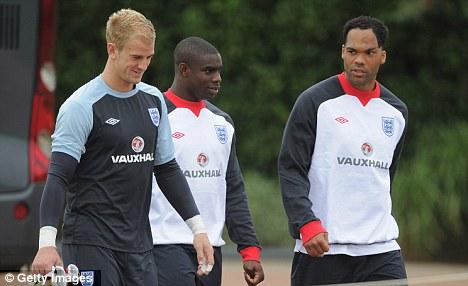 City boys: Micah Richards (centre), Joe Hart (left) and Joleon Lescott with England
