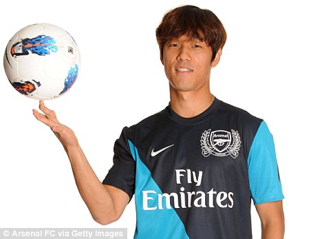In a spin: Chu Young Park poses in his Arsenal shirt