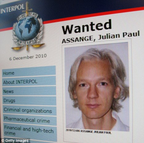 Wanted: A page from the Interpol website showing the appeal for the arrest of the editor-in-chief of the Wikileaks whistleblowing website, Julian Assange