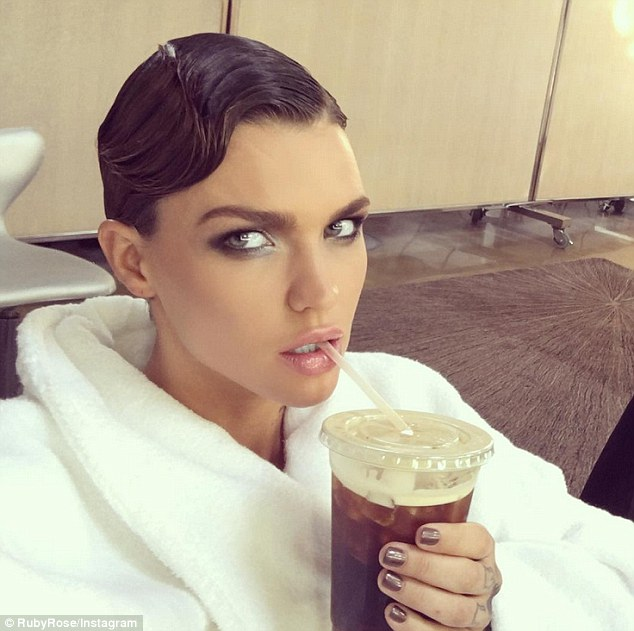 'Just me on a normal day': Ruby Rose took to Instagram on Saturday to share her smouldering make up as she sipped an iced coffee