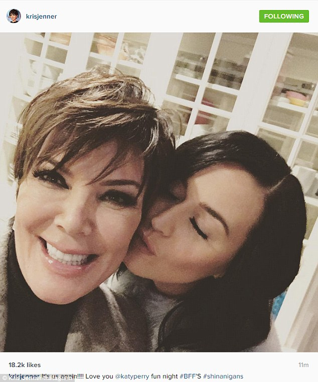 'It's us again!!!! Love you @katyperry fun night!' Katy Perry smooched her new 'BFF' Kris Jenner in the kitchen of her $4M six-bedroom Hidden Hills mansion on Wednesday