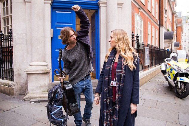 Purr-fect role: Joanne Frogatt with Luke Treadaway. The actress has just finished shooting scenes for A Street Cat Named Bob, based on best-selling books by James Bowen
