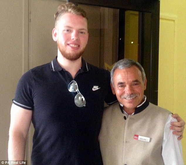Nathan Priestley, pictured left with Aziz, head waiter in his hotel in Sousse, has spearheaded a fundraising campaign for staff affected by the beach massacre