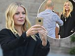 EXCLUSIVE Gwyneth Paltrow made a visit to the Sagrada FamÃlia a large Roman Catholic church in Barcelona, not only taking some selfies but also pictured with a unknown man who also took some images of Gwyneth before they left together.  ©Exclusivepix Media